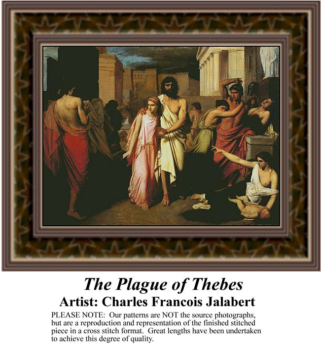 The Plague of Thebes, Fine Art Counted Cross Stitch Pattern also available in Kit and Digital Download #pinterestcrossstitchpattern #pinterestgifts