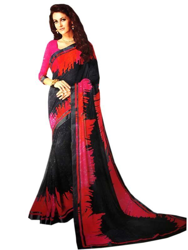 dd68bd2dbc Red Black Printed Zari Border Georgette Casual Wear Saree #saree #sareelove  #sareeswag #