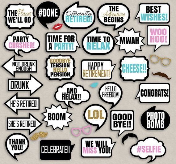 Retirement Party speech bubbles props, diy photo booth printables - 28 x Speech Bubbles, 7 x items!  Just purchase the digital file to print