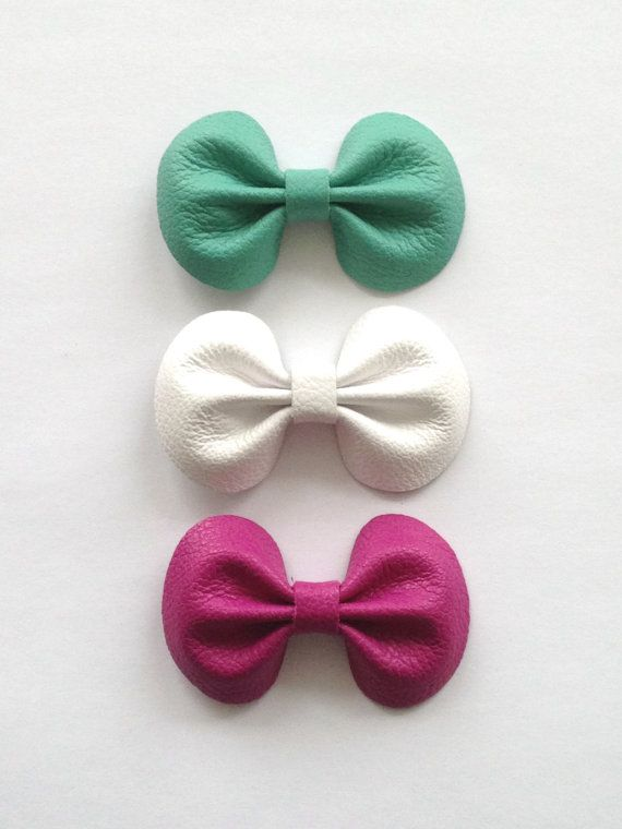 Spring Trio Leather Hair Bow Clips mint, white, raspberry by Butterbean Leather Co. #leather #handmade #bow