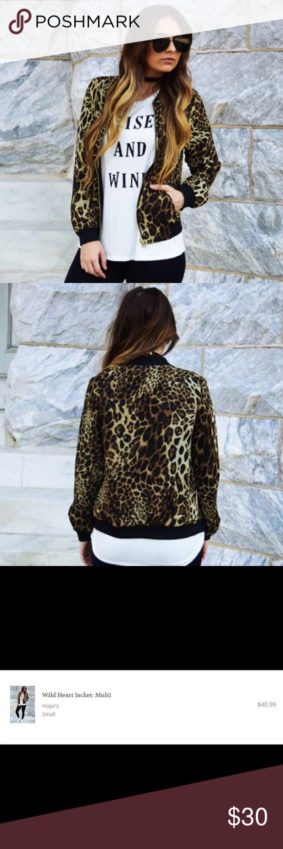 Leopard Print Bomber Jacket Lightweight, lined, leopard print bomber jacket from Hope's. Leopard print is a sheer material layered over black lining. Perfect for wearing out, never worn. NWT Jackets & Coats