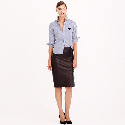 $399, J.Crew Collection Asymmetrical Leather Zip Pencil Skirt. Sold by J.Crew. Click for more info: https://lookastic.com/women/shop_items/90773/redirect