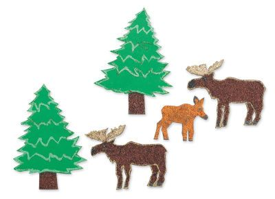 Moose  and Pine Tree Magnets