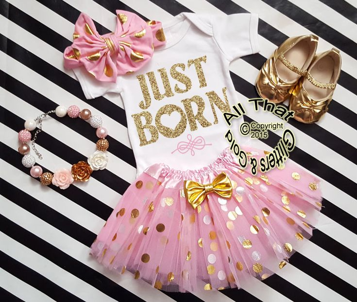 Pink and Gold Just Born Going Home Tutu Outfit For Baby Girl