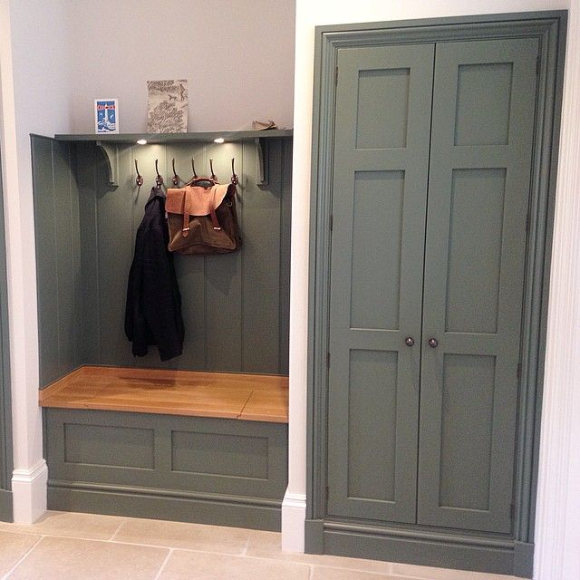 """We can't resist a beautiful boot room! This was at Lewis Alderson's new showroom in Hartley Wintney. Bespoke handmade cabinets painted in Farrow & Ball…"""