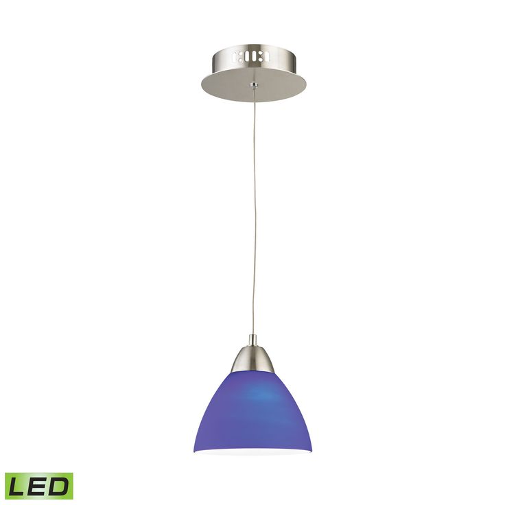 piatto 1 light led pendant in satin nickel with blue glass