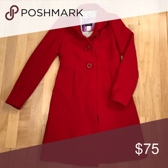 J. Crew Red Pea Coat! Absolutely stunning! J. Crew red coat with pockets! It is SOO elegant! SIZE 0 J. Crew Jackets & Coats Pea Coats