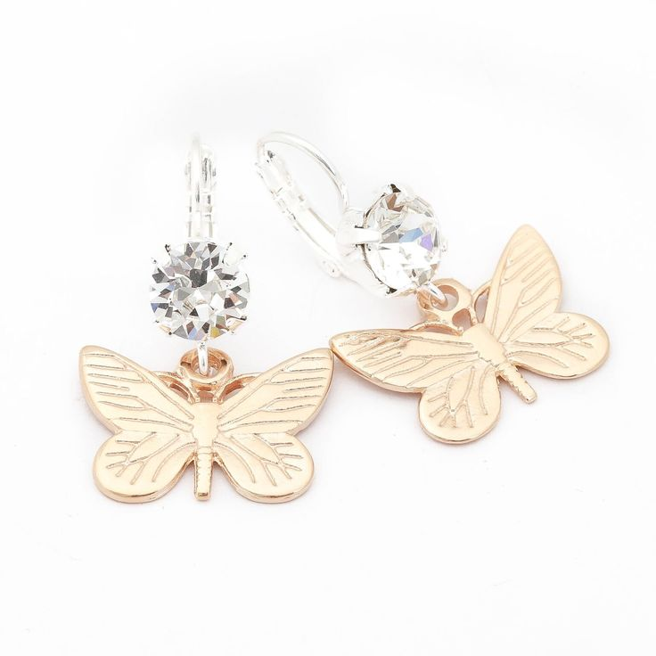 Bibi Bijoux Gold Butterfly earrings with Swarovski Crystals.  £45