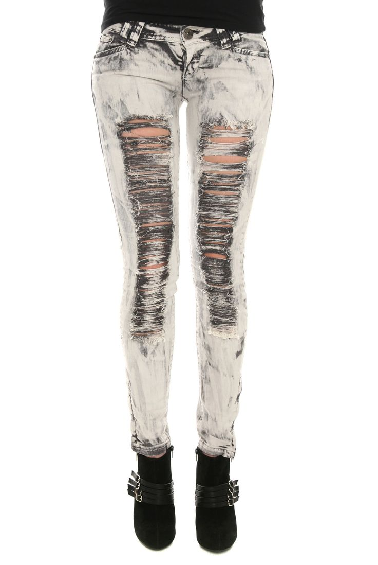 Destroyed Charcoal Washed Skinny Jeans | Hot Topic    ....If only my school dresscode would allow...