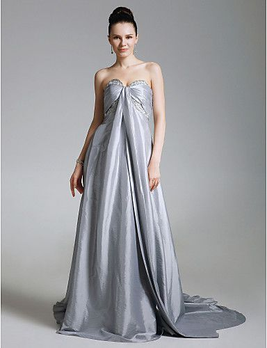 Taffeta A-line Sweetheart Court Train Evening Dress inspired by Dianna Agron at Golden Globe - USD $ 149.99