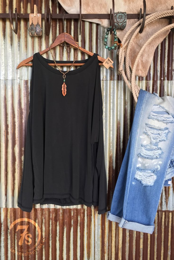 The Chaska - Charcoal cold shoulder top. Slight split cold shoulder. Scoop back for a fun sexy comfy look. Model textile for the softest feel and greatest flat/yet sheen look.