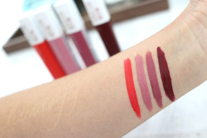 Maybelline Super Stay Matte Ink Swatches: These three kiss proof drugstore lipsticks are perfect for Valentine's Day-- or any day you need a long lasting lip.   Slashed Beauty