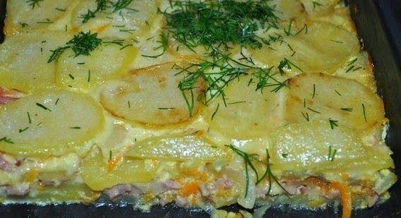 шеф-повар Одноклассники: Картофельная запеканка с ветчиной и сыром.