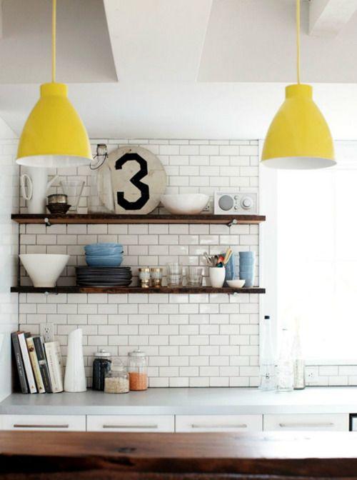 3! #kitchen: Kitchens, Interior, Ideas, Subwaytile, House, Subway Tiles, Yellow Pendant, Light, Open Shelving