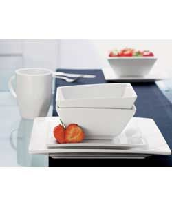 Volley 16 Piece Pure White Square Dinner Set 4 place settings.This set is white and is made of stoneware and contains 4 dinner plates, 4 side http://www.comparestoreprices.co.uk/dinner-sets/volley-16-piece-pure-white-square-dinner-set.asp