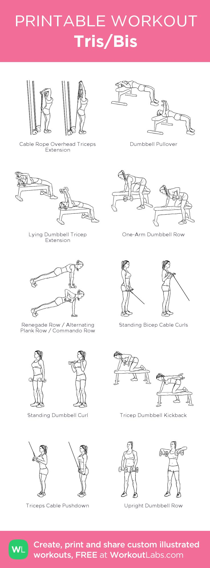 Tris/Bis:my visual workout created at WorkoutLabs.com • Click through to customize and download as a FREE PDF! #customworkout