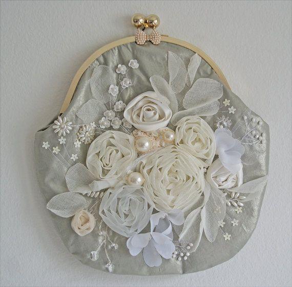 Handtasche bestickt Bändern und Perlen Tasche für von OlgaHengst