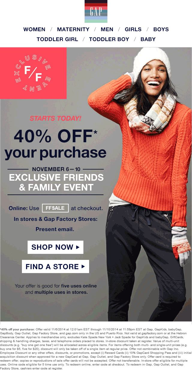 Pinned November 7th: 40% off at #Gap, #GapKids, baby#Gap, #GapBody, #Gap Outlet, #Gap Factory Store, or online via promo code FFSALE #coupon via The #Coupons App