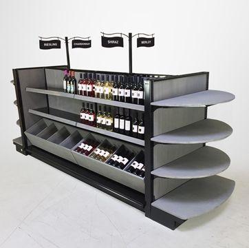 "wood gondola store shelving for wine   BORDEAUX - Liquor Store Display Shelving - Complete Solutions - Custom Colors! 54""H Island x 11ft-11""L"