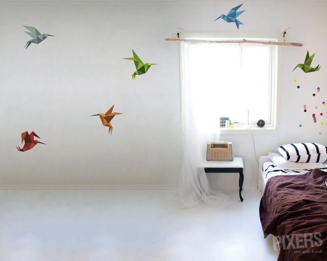 Väggdekor Flygande Origami - inspiration väggdekor, inredningsgalleri  • PIXERS.se