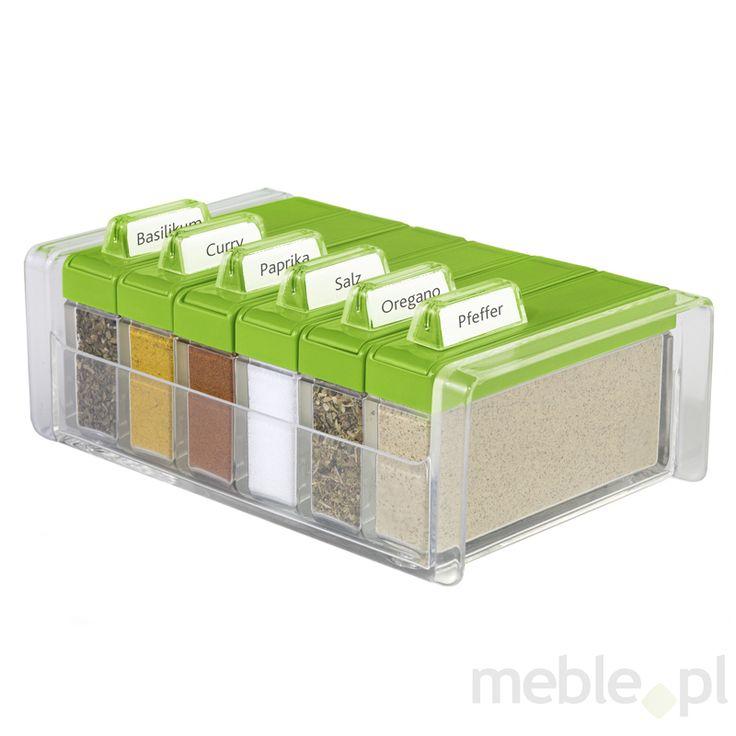 Pudełko na przyprawy + 6 pojemników Spice Box zielone EM-508458, EMSA - Wyposażenie wnętrz