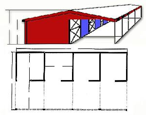 Pole Barn Kit Stall Building Frame #544 portable barn, horse barn kits, portable horse shelter, run in sheds, loafing shed, diy pole barns, diy barn kit, pole barn packages, modular barn, from Klene Pipe Structures