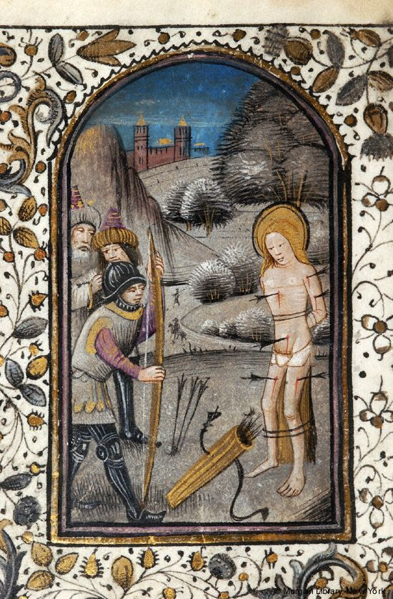 The martyrdom of St. Sebastian, book of hours (PML M.59, fol. 184v), c. 1470