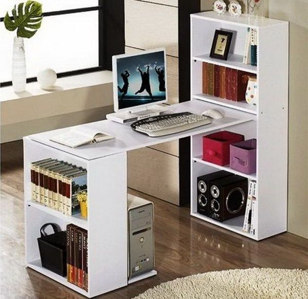 DIY Computer Desk Made from Two Bookshelves.