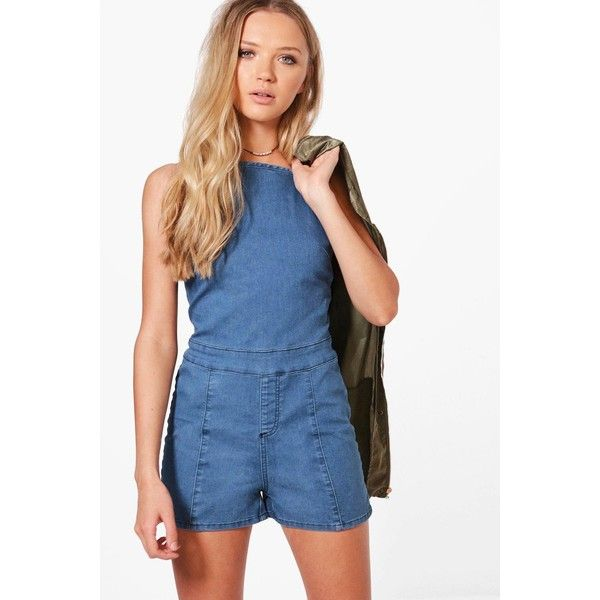 Boohoo Lacey High Neck Denim Festival Playsuit ($40) ❤ liked on Polyvore featuring jumpsuits, rompers, denim romper, playsuit romper, high neck romper, denim rompers and blue rompers
