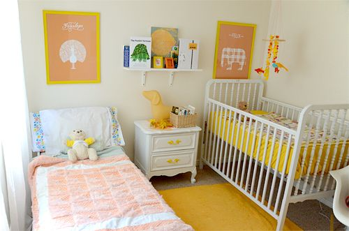 I like this small shared room. You'd need a big BIR to corral all their toys and clothes. Pretty cot too. Nice room in white.