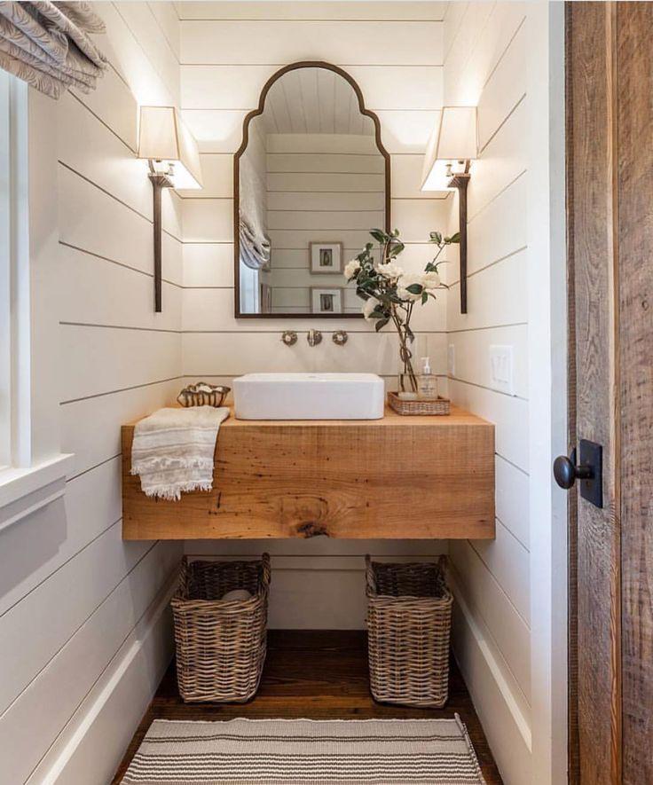 Farmhouse Bathroom With Shiplap Walls Floating Wood Slab Vanity And Roman Shades