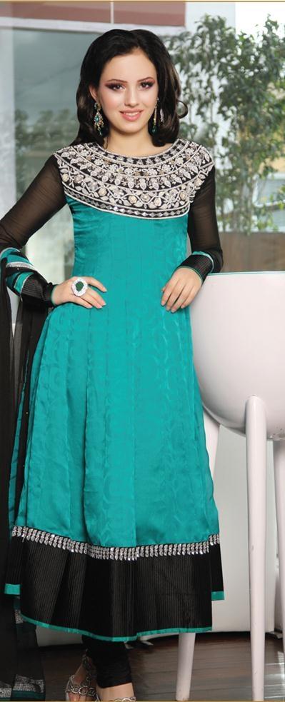 $155.68 Blue Full Sleeve Faux Georgette Long Anarkali Salwar Kameez 19447