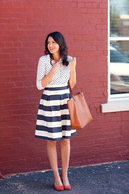 dots & stripes. inspiration for mixing patterns. I'd never wear that skirt. Minis, Fashion, Polka Dots, Stripes Skirts, Pattern Mixed, Mixed Prints, Striped Skirts, Work Outfit, Mixed Pattern