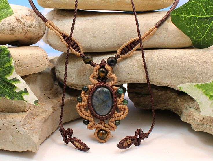 Labradorite Visionary Necklace - Handcrafted macrame necklace, choker by MundialTreasures on Etsy https://www.etsy.com/listing/195296905/labradorite-visionary-necklace