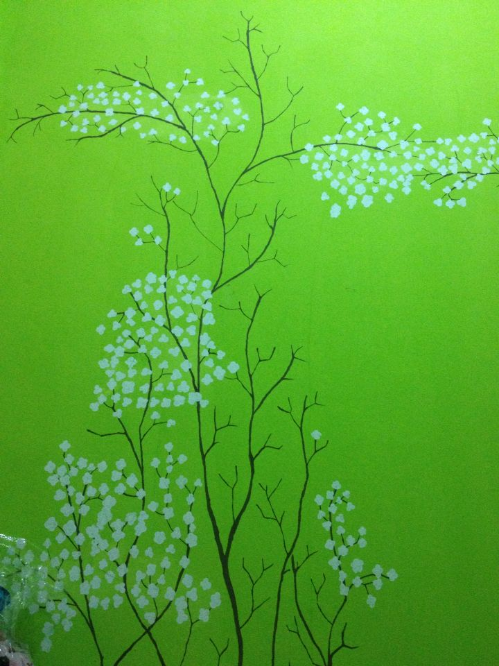 Wall painting for my sister... Not using brush but cotton buds