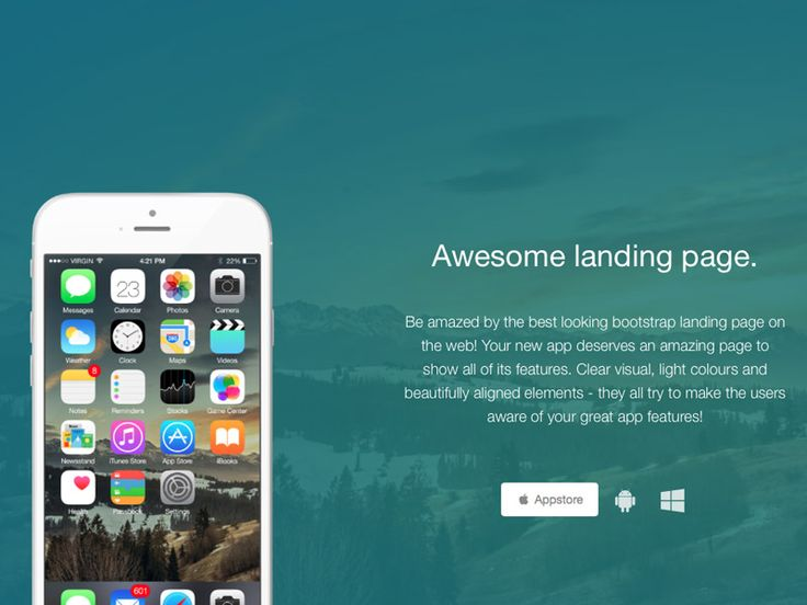 Awesome Landing Page: FREE Bootstrap One Page Template. Clear visual, light colours and beautifully aligned elements.