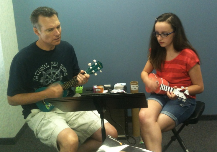 another Ukulele student with Kevin, one of our primary teachers