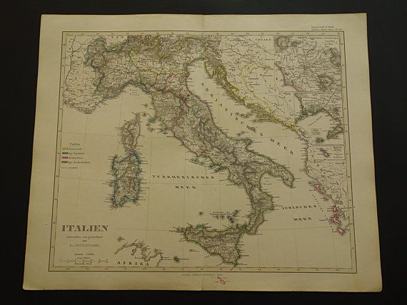 1859 ITALY old map of Italy  beautiful large by VintageOldMaps
