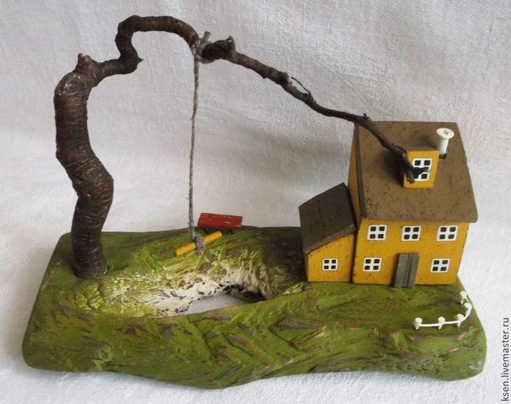 """Купить миниатюра """"Дом у озера"""" - разноцветный, дом и интерьер, домик, подарок, подарок девушке, миниатюра"""