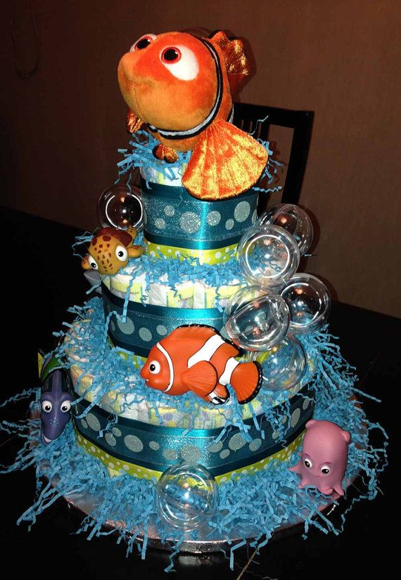 This is the Finding Nemo Diaper Cake! The Finding Nemo cake was created as a Baby Boys Christening gift! Each of our cakes is made to order