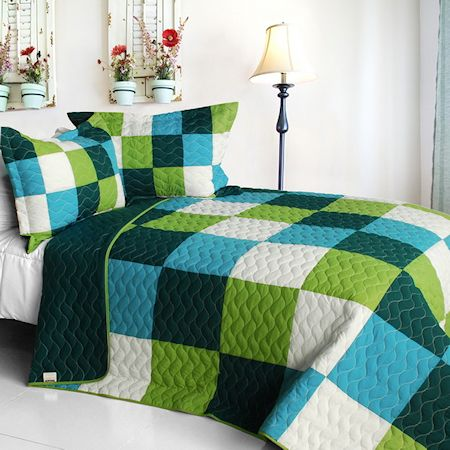 Green Blue Minecraft Blocks Boys Bedding Full/Queen Quilt Set Teen Geometric Bedspread #kidsroomstore