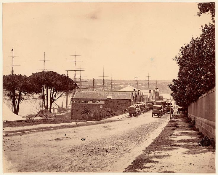 Macquarie Street, at Circular Quay East, from the corner of Albert Street, ca. 1870s, State Library, NSW.