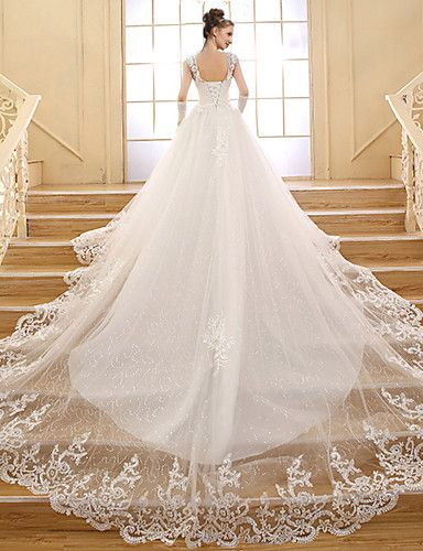 A-line Wedding Dress Vintage Inspired Chapel Train V-neck Lace / Tulle with Appliques / Sequin / Beading 2719503 2016 – $149.99