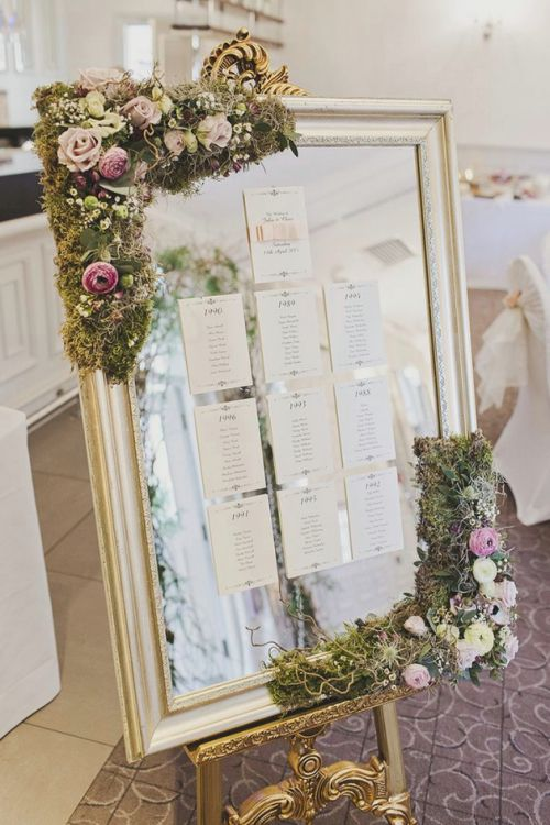 Espejo decorado con seating plan en papel, mesas distribuidas por años. Ideas de organización de mesas en marcos, espejos y ventanas http://whimsicalwonderlandweddings.com/2015/07/whimsical-enchanted-woodland-twilight-wedding.html