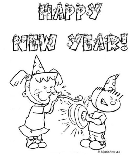 New Year Coloring Pages For Kids