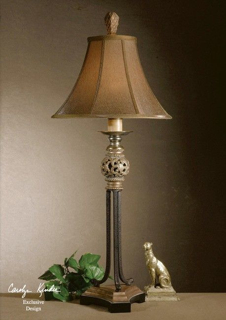 FRENCH TUSCAN Filigree Scroll ELEGANT BUFFET LAMP
