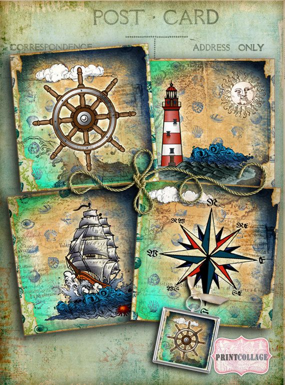 Nautical images Printable Collage for Coasters by PrintCollage