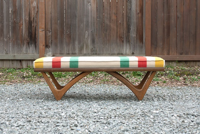 Hudson Bay Custom Upholstered Mid Century Coffee Table Bench