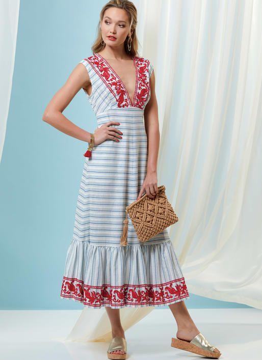 V9311 Vogue Deep V Dress Patterns Sewing Patterns Patterns