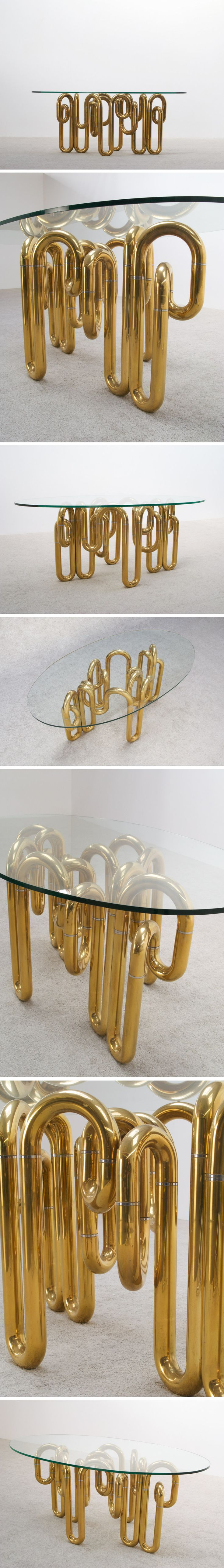 Tubular sculptural brass dining table, maker unknown, 1970s.